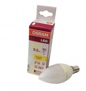 4058075134171 LS CLB 60 6.5W/830 220-240V FR E14 550lm 240* 15000h свеча OSRAM LED-лампа