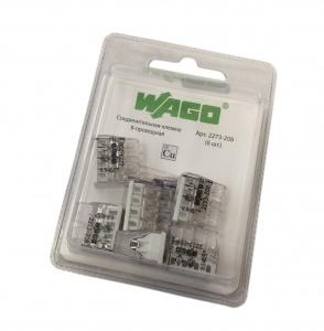Клемма 8х(0.5-2.5мм) на 8 проводников (без пасты) WAGO 2273-208 (упак 6 шт)